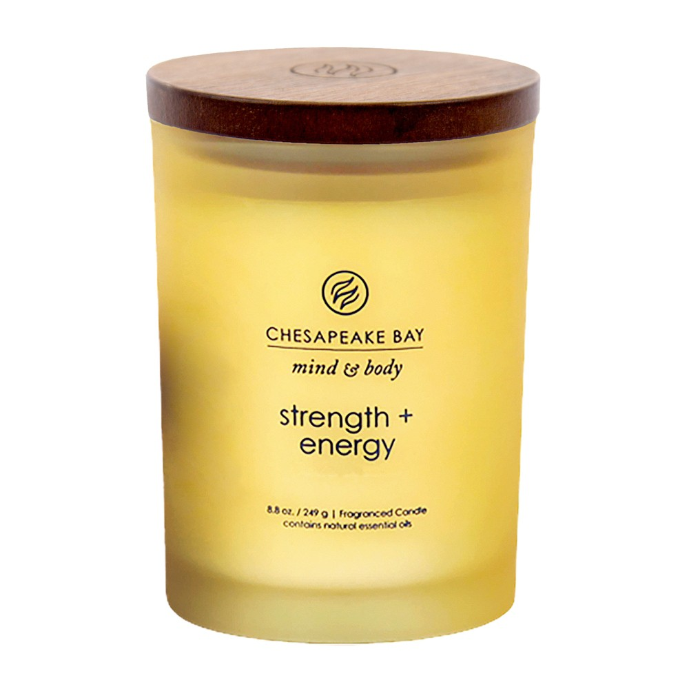 8.8oz Medium Jar Candle Strength & Energy - Mind And Body By Chesapeake Bay Candle, Yellow