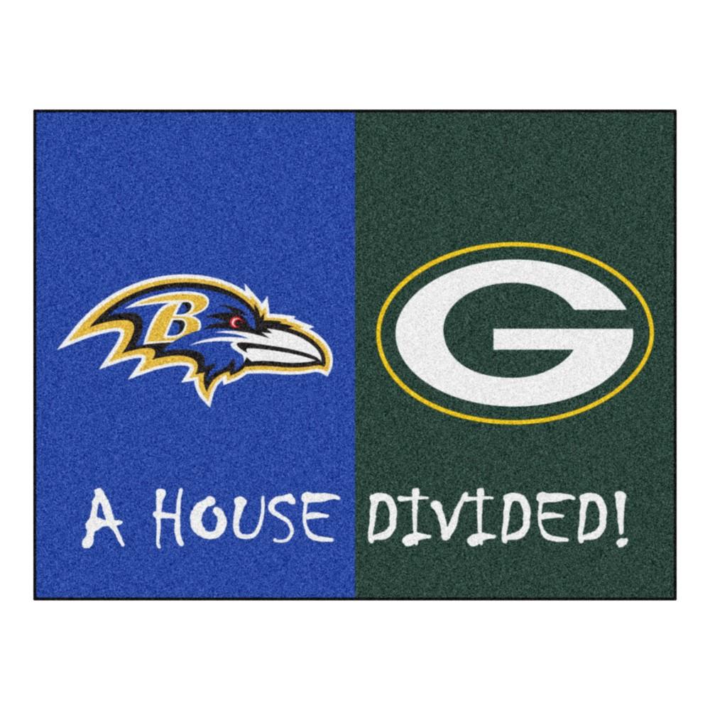 NFL Green Bay Packers/Baltimore Ravens House Divided Rug 33.75