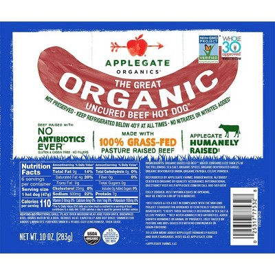 Applegate Grassfed The Great Organic Uncured Beef Hot Dog - 10oz