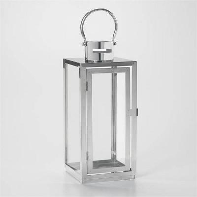 """15"""" Daphne Stainless Steel Metal Outdoor Lantern with Door - Smart Living"""