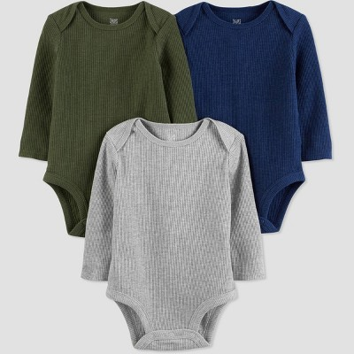 Baby Boys' 3pk Solid Bodysuit - Just One You® made by carter's Green/Gray/Blue 3M