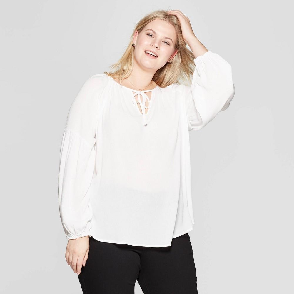 dae1d37ac4a26f Womens Plus Size Long Sleeve V Neck Poet Blouse Ava Viv White 1X