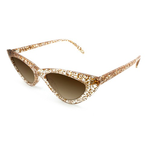 b8a0037cd76 Women s Cateye Sunglasses With Brown Lenses - Wild Fable™ Clear Gold Glitter    Target