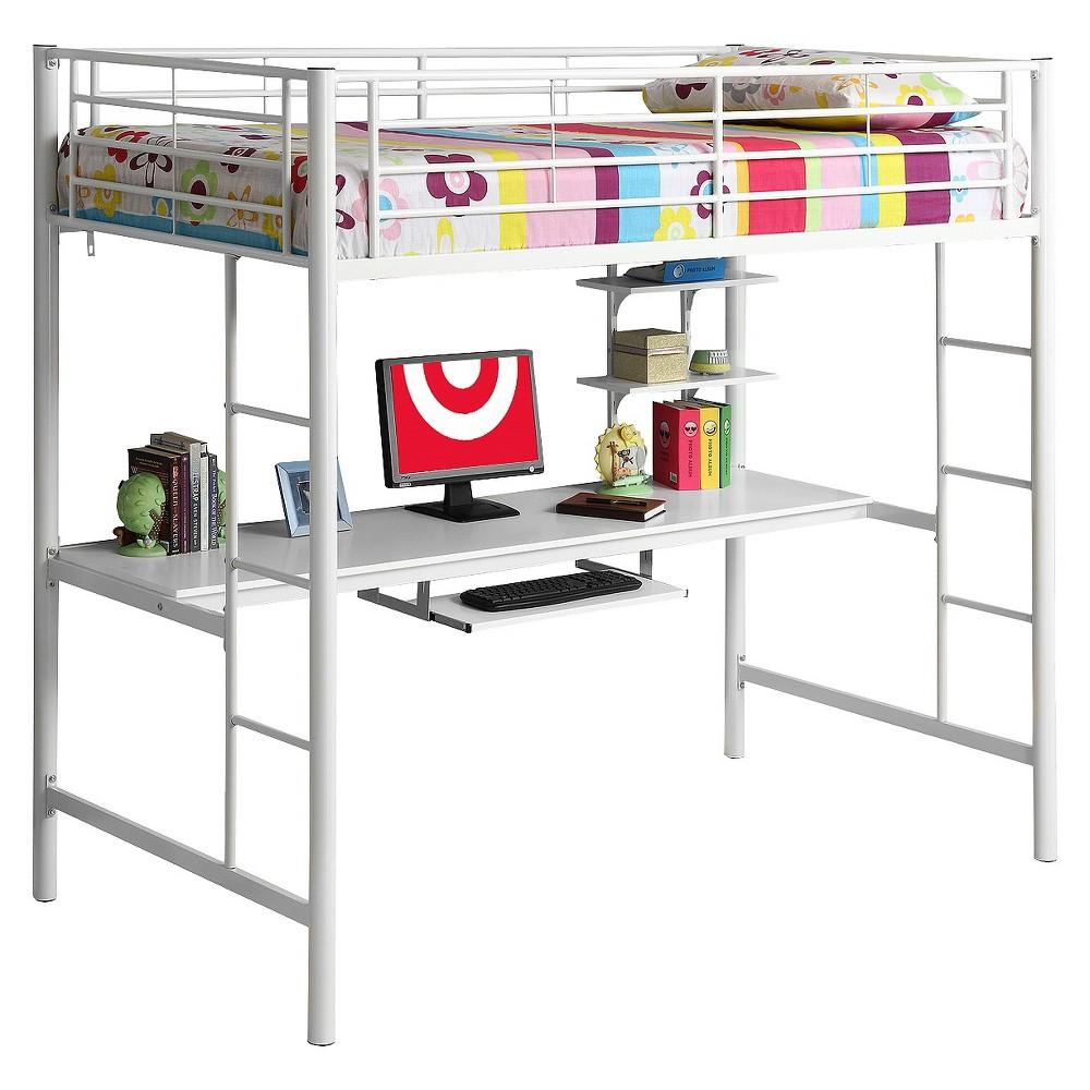 Premium Metal Twin Loft Bed with Wood Workstation - White - Saracina Home