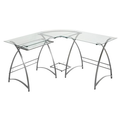 L Shaped Glass and Metal Corner Computer Desk Silver - Saracina Home