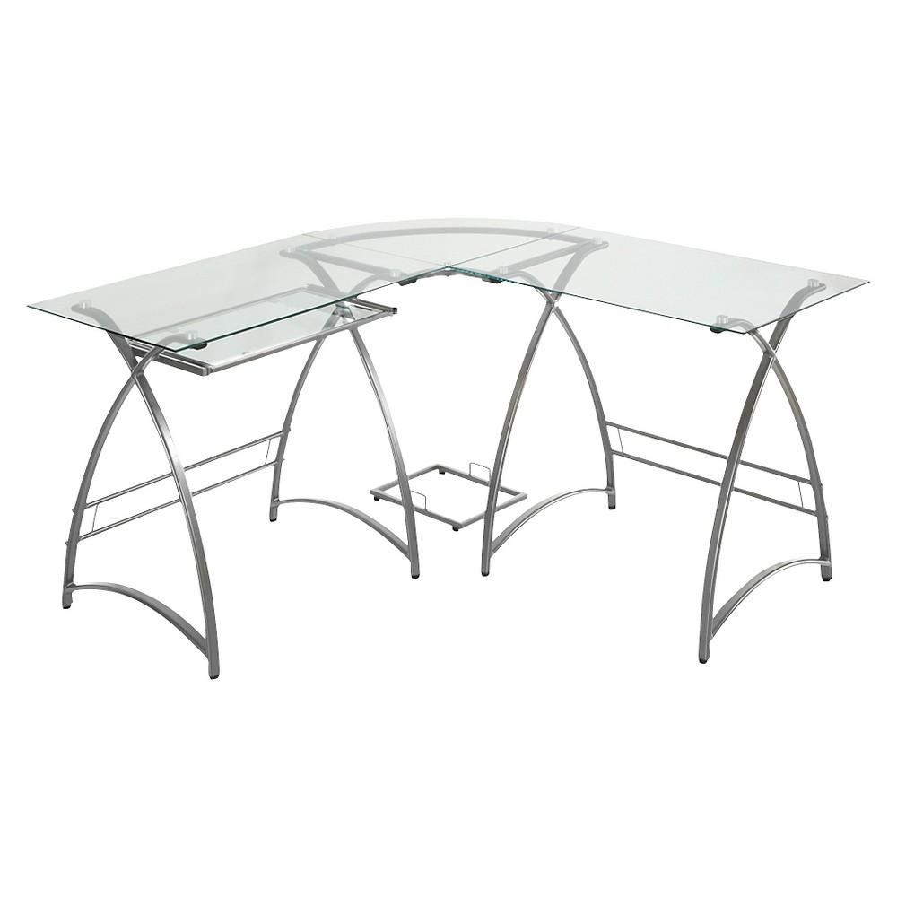 Corner Computer Desk - Silver - Saracina Home, Light Silver