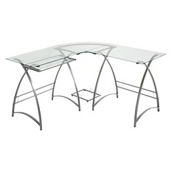 L Shaped Glass and Metal Corner Computer Desk Silver - Saracina Home