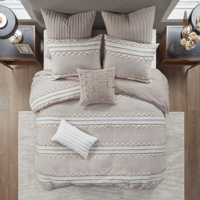 Full/Queen Lennon Organic Cotton Jacquard Comforter Set Taupe