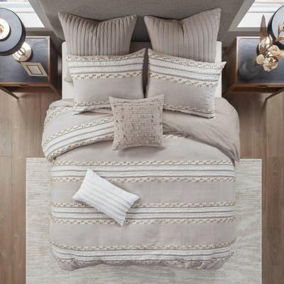 King/California King Lennon Organic Cotton Jacquard Comforter Set Taupe