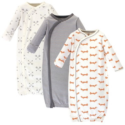 Touched by Nature Baby Organic Cotton Kimono Long-Sleeve Gowns 3pk, Fox, 0-6 Months