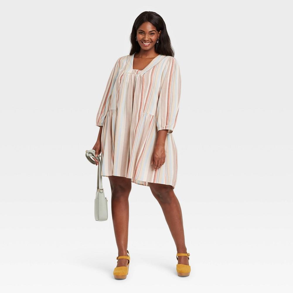 Women 39 S Plus Size Striped Long Sleeve Shift Dress Knox Rose 8482 1x