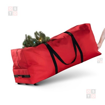 OSTO Premium Rolling 600D Tear Proof Artificial Christmas Tree Storage Bag for Disassembled Trees up to 9 Feet 59 x 24 x 18 Inch
