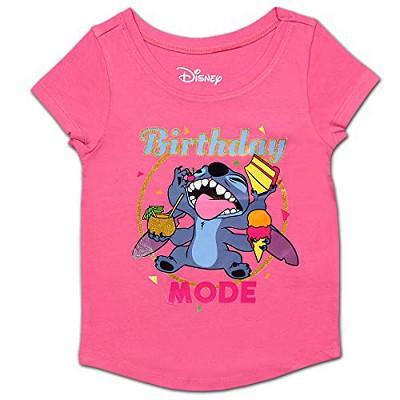 Disney Girl's Stitch Birthday Mode Short Sleeve Party Shirt For Kids