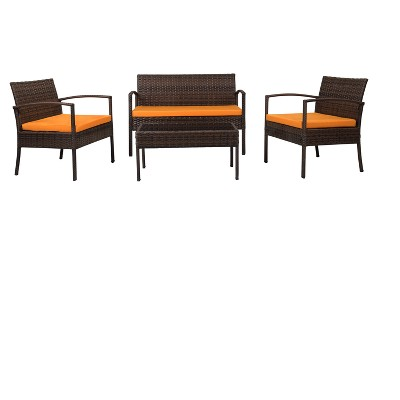 4pc Wicker Teaset - Dark Brown with Orange Cushions - Thy Hom