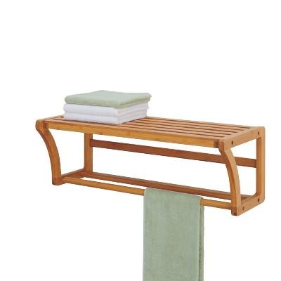 Bamboo Wall Mounting Shelf with Towel Bar Brown - Neu Home