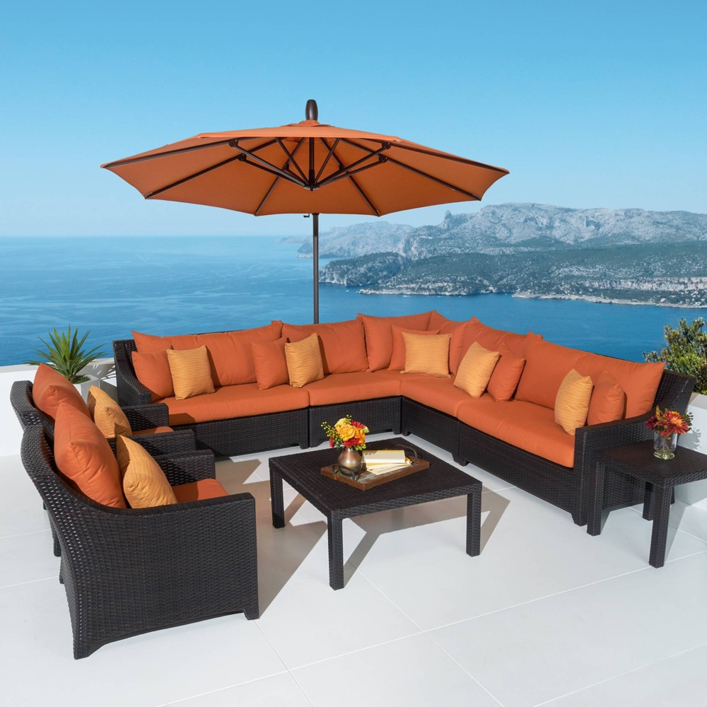 Deco 9pc Sectional and Club Set with Umbrella - Orange - Rst Brands