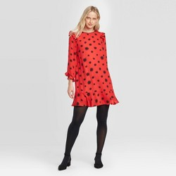 Women's Floral Print Ruffle Long Sleeve Boat Neck Shift Mini Dress - Who What Wear™ Red