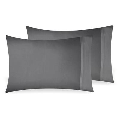 500 Thread Count Cotton Solid Pillowcase Pair - Sateen Weave Pillowcases, Silky Soft Light Sheen Set - California Design Den
