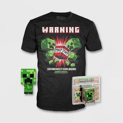Boys' Minecraft Creeper Short Sleeve Graphic T-Shirt with Mini Funko POP! - Black