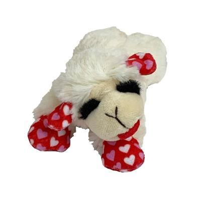 "Multipet Valentine Lamb Chop Dog Toy - Red - 6"""
