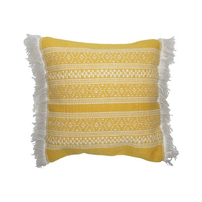 Yellow and White Hand Woven 18 x 18 inch Outdoor Decorative Throw Pillow Cover With Insert and Hand Tied Fringe - Foreside Home & Garden
