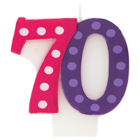 Bright And Bold 70th Birthday Candle Target