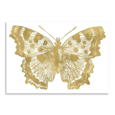 Americanflat Butterfly 1 Gold On White by Amy Brinkman Poster