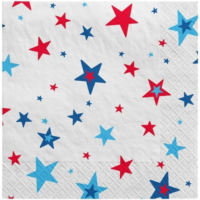 30ct Lunch Napkin Stars on White - Sun Squad™