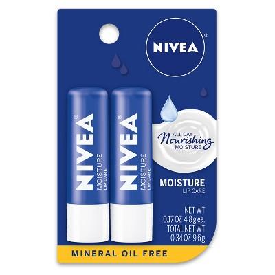 NIVEA Moisturizing Lip Balm - 0.34oz/2pk