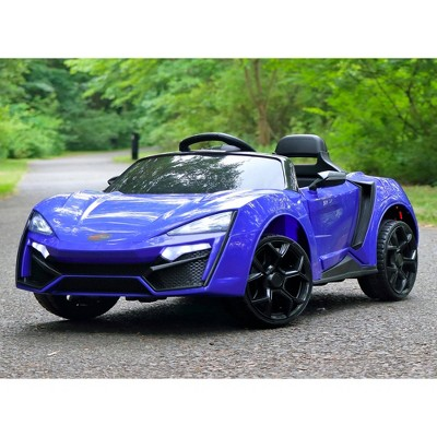 First Drive Lykan Hypersport Kids Electric Ride On Toy Car for Kids Ages 3-6 Years with Remote Control, Headlights, Aux Cord, and Horn, Blue