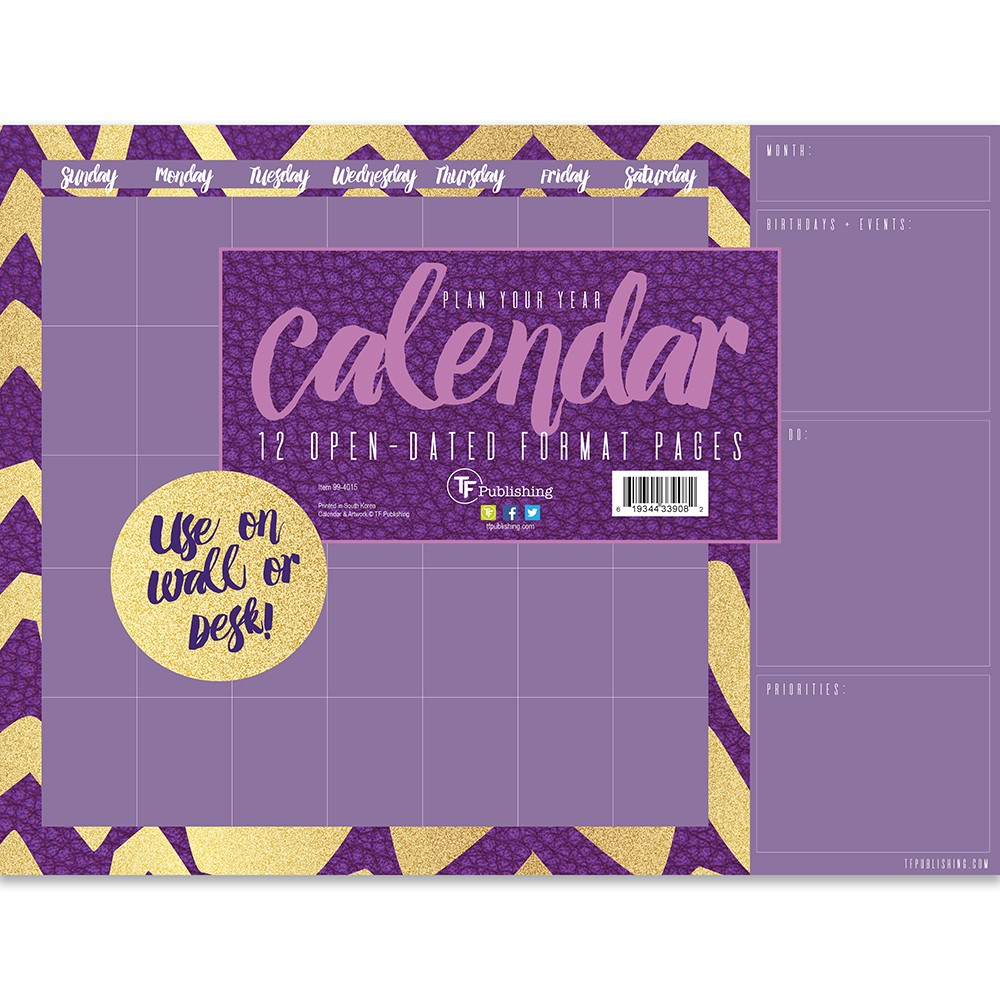 Calendars TF Publishing Multi-colored, Violet Gold Open-Dated