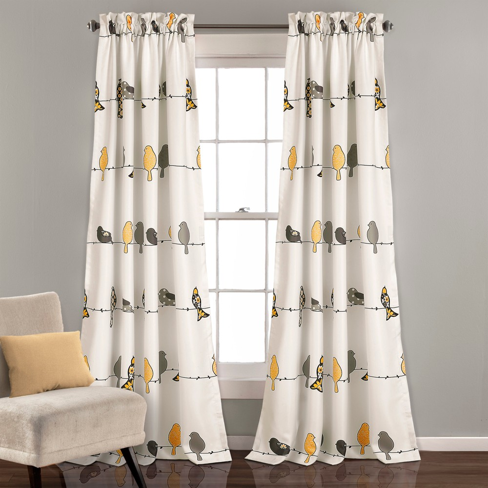 Rowley Birds Room Darkening Window Curtain Yellow/Gray Set 52X84+2 - Lush Décor