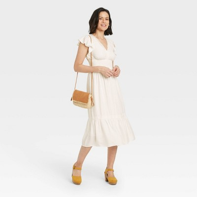 Women's Flutter Sleeve Dress - Knox Rose™ White
