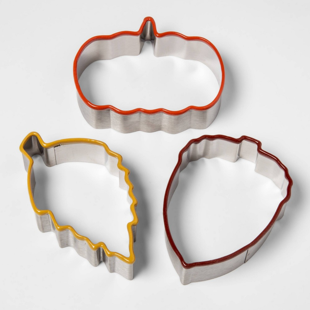Image of 3pc Stainless Steel Fall Cookie Cutter Set - Threshold