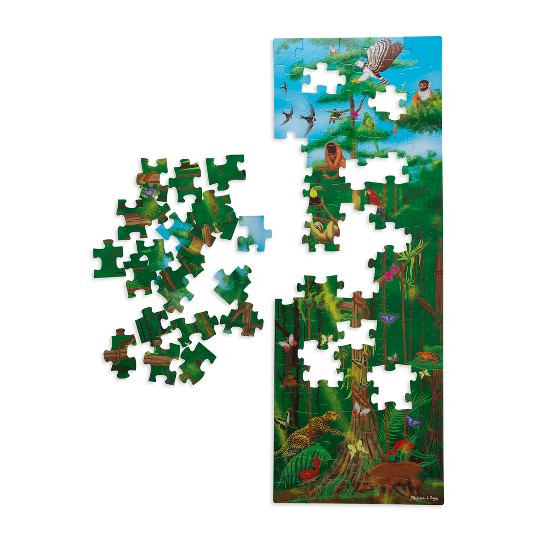 Melissa & Doug Under the Sea and Rainforest Cardboard Floor Puzzle Set 2pc, Kids Unisex image number null