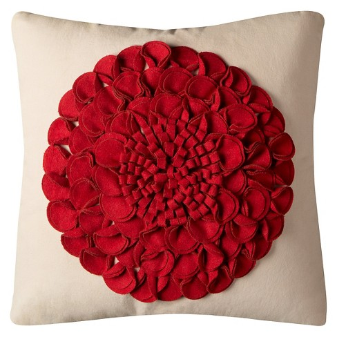 "Beige/Red Floral Textural Throw Pillow (20""x20"") - Rizzy Home® - image 1 of 1"
