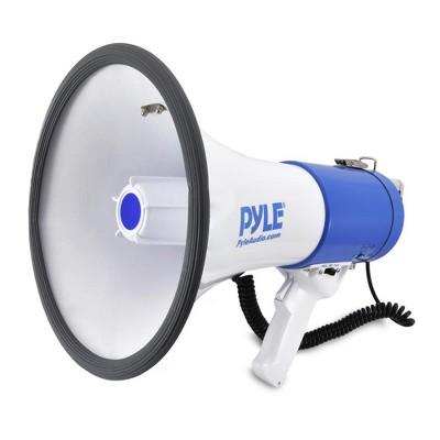 PylePro PMP50 50 Watt 1,200 Yard Sound Range Portable Bullhorn Megaphone Speaker with Built In MP3 Input Jack and Loud Siren Alarm, Blue