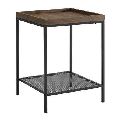 Industrial Square Tray Side Table with Metal Mesh Shelf  - Saracina Home