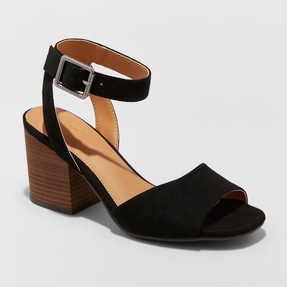 Women's Megan Microsuede Quarter Strap Heeled Pump Sandals - Universal Thread Black 12