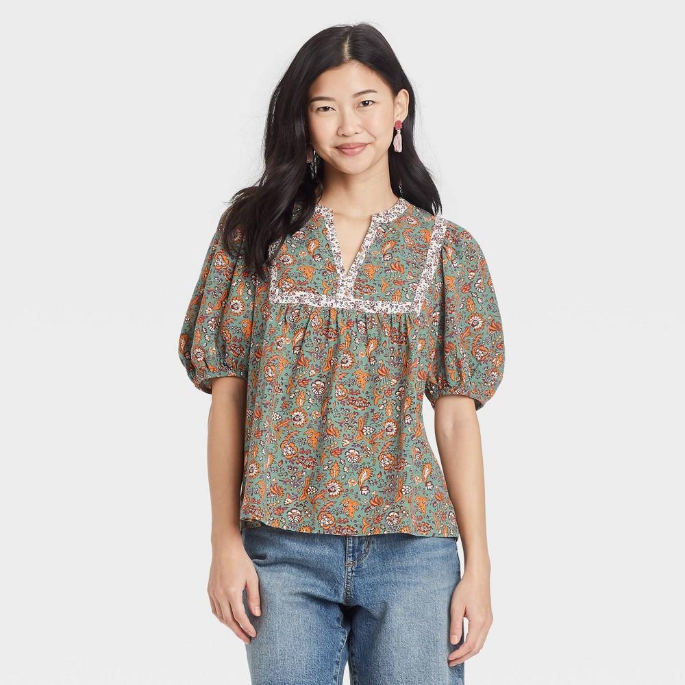Women 39 S Floral Print Puff Elbow Sleeve Blouse Universal Thread 8482 Green M