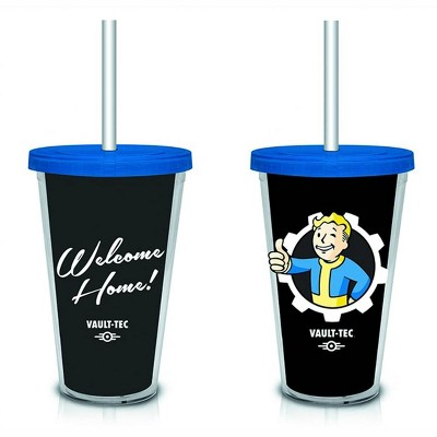 """Just Funky Fallout """"Welcome Home"""" Vault-Tec (Black) 18oz. Travel Cup with Straw"""