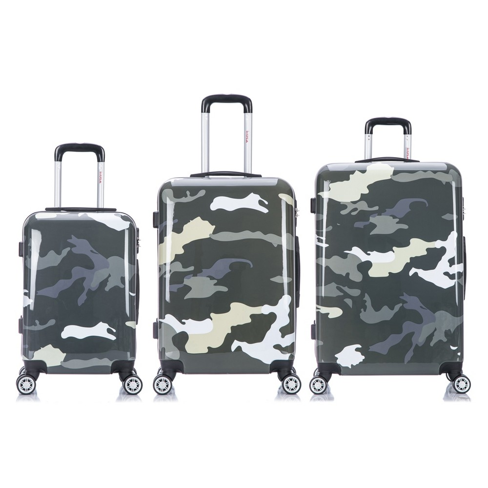 InUSA Prints 3pc Hardside Spinner Luggage Set 20& 24& 28 - Green Camouflage, Camouflage Green