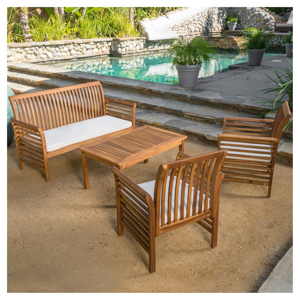 Desmond 4pc Acacia Wood Patio Chat Set with Cushions - Brown Patina - Christopher Knight Home