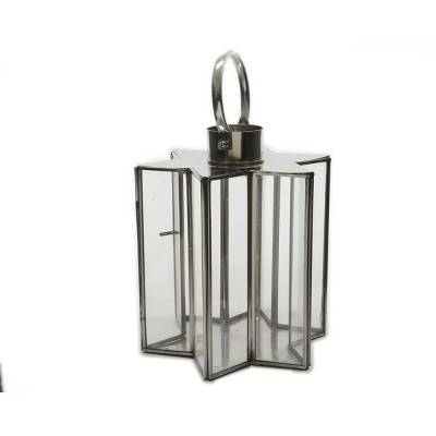 "Kaemingk 12"" Winter Light Silver Star Glass Christmas Candle Lantern Decoration"