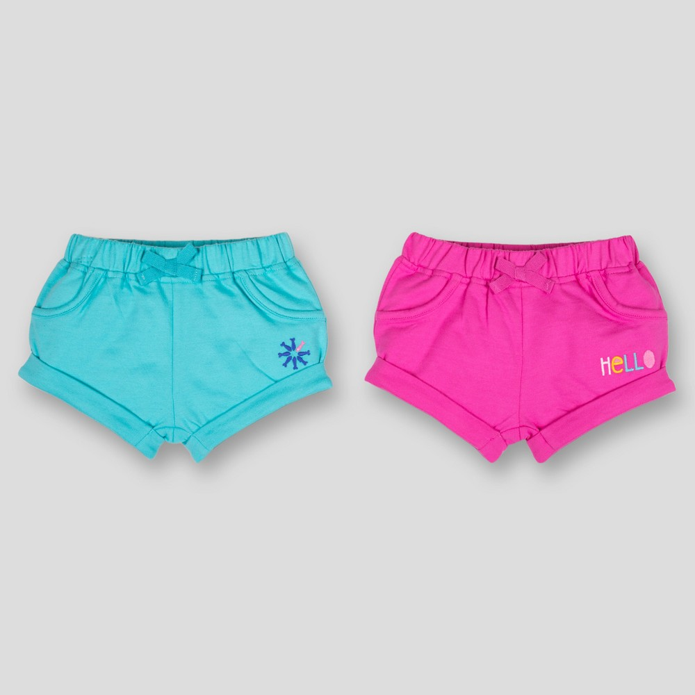 Lamaze Baby Girls' Organic Cotton 2pk Solid Shorts - Pink 18M