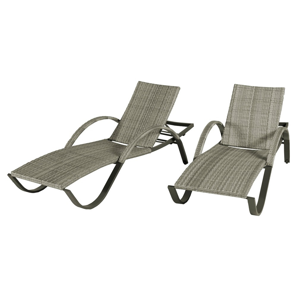 Rst Brands Cannes Chaise Lounges Set of 2 - Gray Wicker