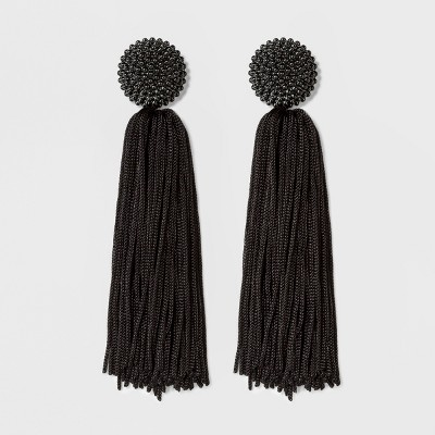 Sugarfix By Bauble Bar Beaded Studs Tassel Drop Earrings   Black by Shop This Collection