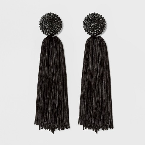 SUGARFIX by BaubleBar Beaded Studs Tassel Drop Earrings - Black - image 1 of 3