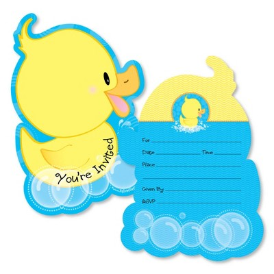 Big Dot of Happiness Ducky Duck - Shaped Fill-in Invitations - Baby Shower or Birthday Party Invitation Cards with Envelopes - Set of 12