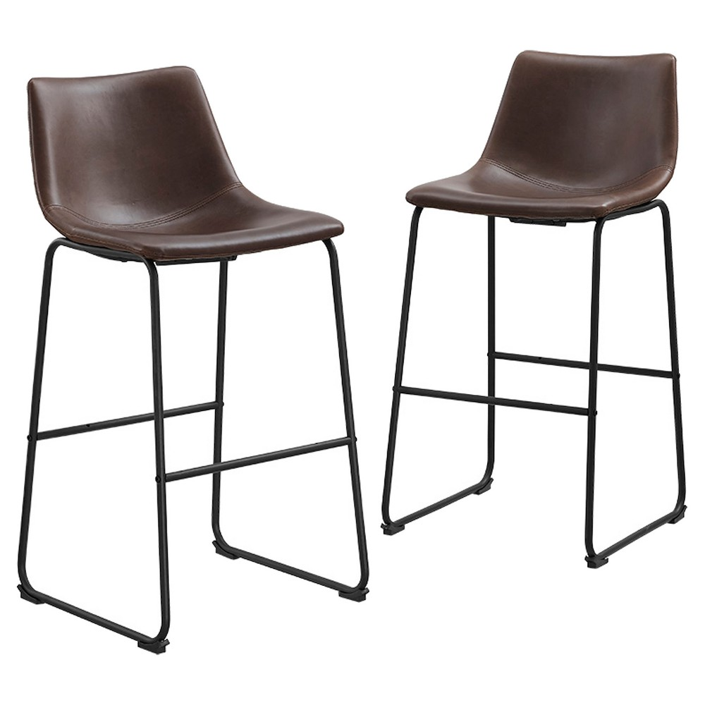 Faux Leather Dining Kitchen Barstools Set of 2 - Brown - Saracina Home